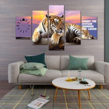 Living Room Wall Art 5 Panel TIGER Canvas