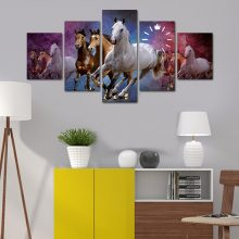 HORSE 5 PANEL WALL FRAME WITH WALL CLOCK INSTALLED