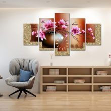FLOWER PORT 5 PANEL WALL FRAME WITH FUNCTIONAL WALL CLOCK