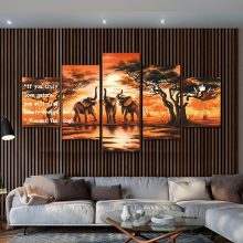 ELEPHANT 5 PANEL LUXURY ART WORK WITH WALL CLOCK INSTALLED