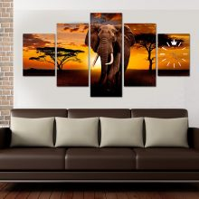 ELEPHANT SUNSET WALL FRAME WITH WALL CLOCK INSTALLED