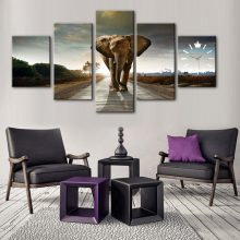 TROPICAL DESERT ELEPHANT CANVAS WALL FRAME